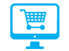 computer with shopping cart on screen icon